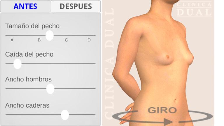 App Simulador Aumento de Pecho Clínica Dual Valencia: pantalla final