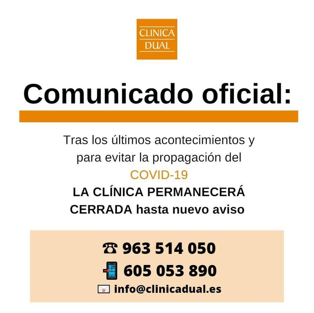 clinica cerrada hasta nuevo aviso img - clinica dual